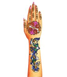 Multicolor Glitter Hand Mehendi