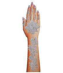 1 Piece Silver Glitter Hand Mehendi