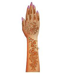 1 Piece Saffron Glitter Hand Mehendi