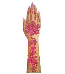 Magenta Glitter Sticker Mehendi for Single Hand