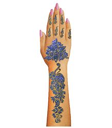 Blue Glitter Sticker Mehendi for Single Hand