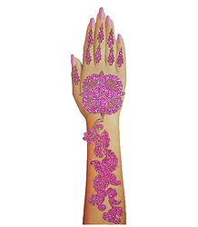 Magenta Glitter Sticker Mehendi for Single Hand