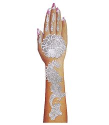 Silver Glitter Sticker Mehendi for Single Hand