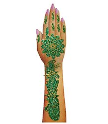 Green Glitter Sticker Mehendi for Single Hand