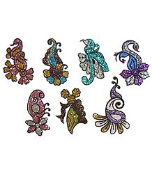 Set of 7 Multicolor Glitter Tattoos