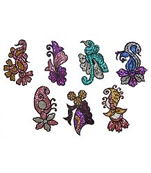 Set of 7 Multicolor Glitter Tattoos
