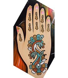 One Piece Multicolor Glitter Peacock Hand Mehendi
