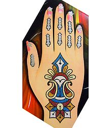 One Piece Multicolor Glitter Paisley Design Hand Mehendi