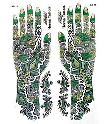 Set of Green,Black with Golden Glitter Sticker Mehendi for Hand Decor