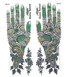 Green,Black with Golden Glitter Sticker Mehendi for Hand and Body Decor