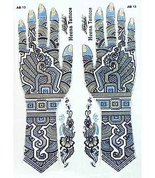 Blue, Black with Golden Glitter Sticker Mehendi for Hand and Body Decor
