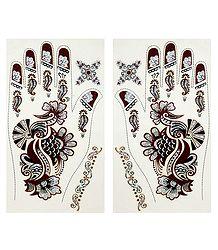 Pair of Maroon, Black, Silver Glitter Sticker Mehendi