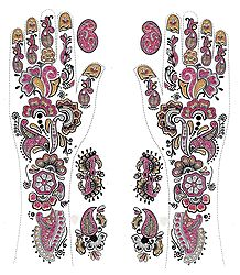 Pair of Pink, Black with Golden and Silver Glitter Sticker Mehendi