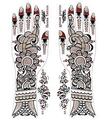 Pair of Pink, Black with Golden Glitter Sticker Mehendi
