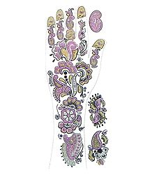 Mauve, Black with Golden Glitter Sticker Mehendi for Single Hand Decor