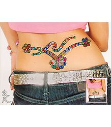 Multicolor and Stone Studded Waist Tattoo (Can Be used on Other Parts of the Body)