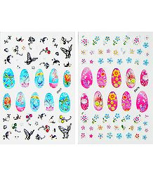 2 Printed Sheets of Flower Sticker for Nails