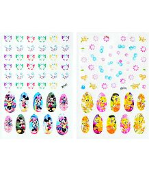 2 Printed Sheets of Cartoon Sticker for Nails