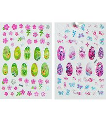2 Printed Sheets of Flower Stickers for Nails