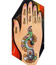 Multicolor Glitter Peacock Hand Mehendi