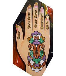 Buy Multicolor Glitter Peacock Hand Mehendi