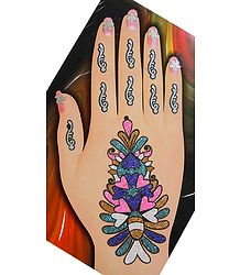 Multicolor Glitter Flower Bouque Hand Mehendi