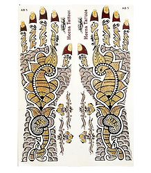 Set of Maroon with Golden Glitter Sticker Mehendi for Hand and Body Decor