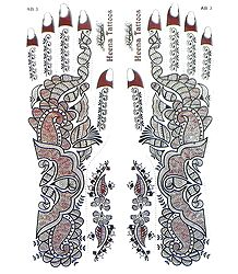Set of Glitter Sticker Tattoo for Hand and Body Decor Maroon with Silver Glitter Sticker Mehendi for Hand and Body Decor