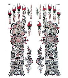 Maroon with Silver Glitter Sticker Mehendi for Hand and Body Decor