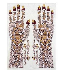 Pair of Maroon, Black with Golden Glitter Sticker Mehendi