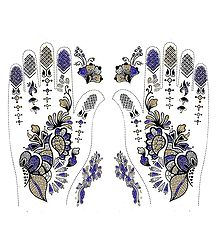 Pair of Purple, Golden with Silver Glitter Sticker Mehendi