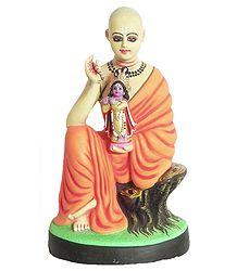 Sri Chaitanyadev with Idol of Krishna - Clay Statue