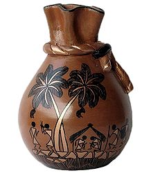 Flower Vase with Warli Painting
