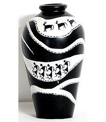 Folk Art Painted Black Flower Vase