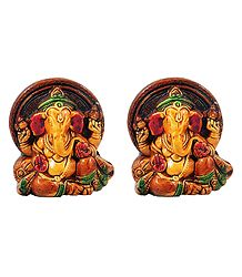 Set of 2 Ganesha - Terracotta Statue