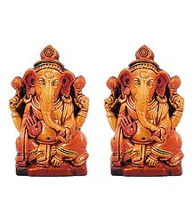 Pair of Ganesha - Terracotta Statue