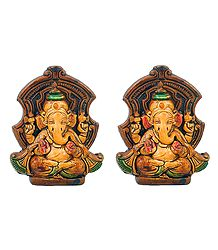Pair of Lord Ganesha - Terracotta Statue