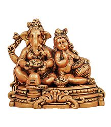 Terracotta Ganesha with Krishna