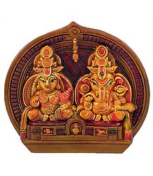 Terracotta Statue of Lakshmi and Ganesha