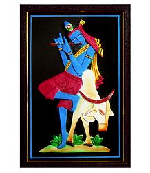 Murlidhara Krishna with Cow - Wall Hanging