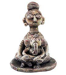 Durga  with Ganesha