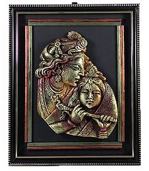 Radha Krishna - Terracotta Statue on Wall Hanging