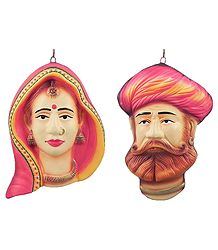 Terracotta Couple Masks from Rajasthan - Wall Hanging