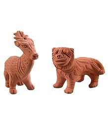 Burnt Clay Tiger and Deer