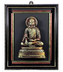 Lord Buddha on Wooden Frame - Wall Hanging