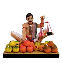 Fruit Seller - Clay Statue