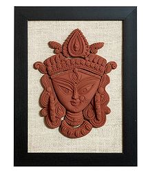 Face of Devi Durga - Terracotta Wall Hanging