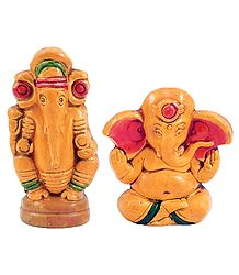 Pair of Terracotta Ganesha