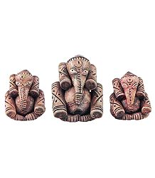 Set of 3 Terracotta Ganesha