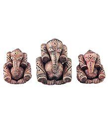 3 Terracotta Ganesha
